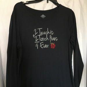 Long sleeve black bling teacher shirt